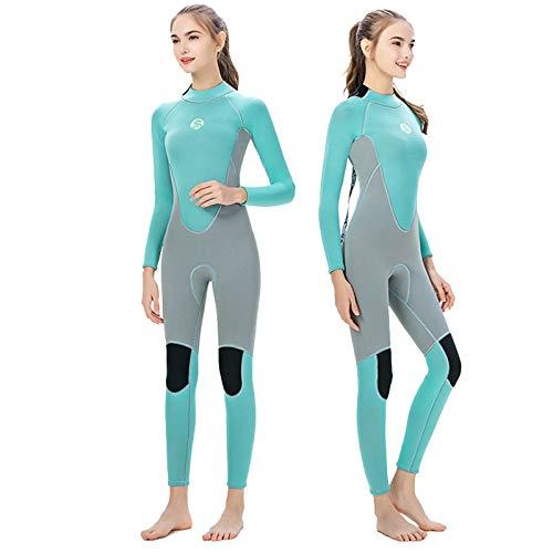 Neoprenanzug Damen 3mm Lang Winter Ganzkörper Neopren Wetsuits Tauchanzug Surfen Schnorcheln Schwimmenanzug Green-XS