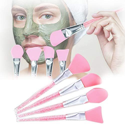 Gesichtsmaske Pinsel, 4 stücke Silikon Schlammmasken Bürste, Kosmetik Hautpflege Pinsel für die Gesichtsmaske, Augenmaske, Serum oder DIY(Rosa)