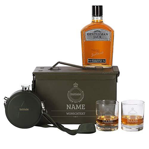 Herz & Heim® 5-tlg Jack Daniel's Gentleman Jack Whiskey Set 2 Gläsern mit Gravur, Feldflasche + Orginal Munitionskiste