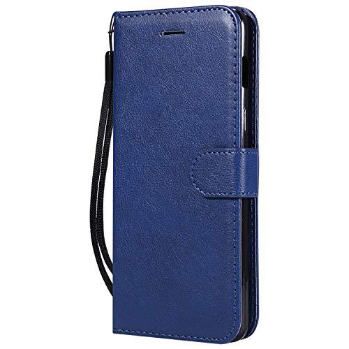 Hülle für OnePlus 6 Hülle Handyhülle [Standfunktion] [Kartenfach] Tasche Flip Hülle Cover Etui Schutzhülle lederhülle flip case für OnePlus6 - DEKT051511 Blau
