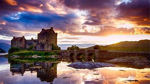 Puzzle Fai-da-Te 1000 Pezzi Eilean Donan Castle Scozia per Il Regalo del Festival per Bambini Adulti
