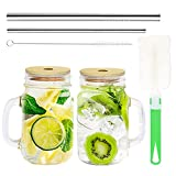 COLOROUND 2 Pack Regular Mouth Mason Jar Mug Cups with Handle 16 oz with Bamboo Lids & Stainless Steel Straws Retro Drinking Glasses Reusable Smoothie Juicing Cups Glass with Lids for Juices Shakes