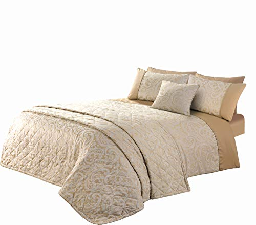 The Bed Linen Store Cotton Rich Jacquard Paisley Duvet Cover Pillowcase Set - Sandstone (King Duvet Cover Set)