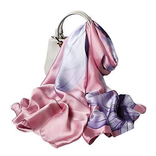 LumiSyne Bufandas De Seda Para Mujer Estampado Floral Estilo Moda