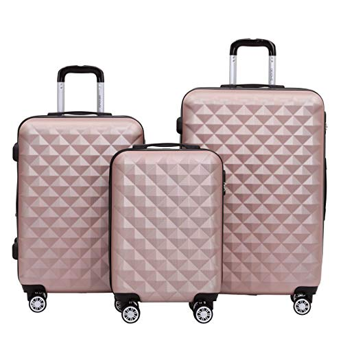 BEIBYE Trolley Koffer Reisekoffer Reisekofferset Gepäckset Kofferset 4 Zwillingsrollen Hartschale (Rosa Gold)