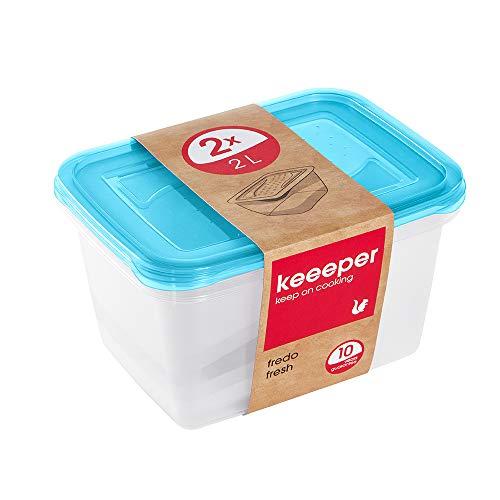 keeeper Set de 2 Fiambreras, 2 x 2 l, 20,5 x 15,5 x 10,5 cm, Fredo Fresh, Azul transparente, PP, 2x 2 l
