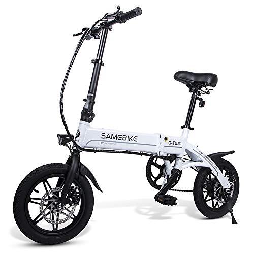 SAMEBIKE 14 Pollici Pieghevole Bici Elettrica Servoassistita Bicicletta Elettrica E-bike Scooter 250w Motore Bianca