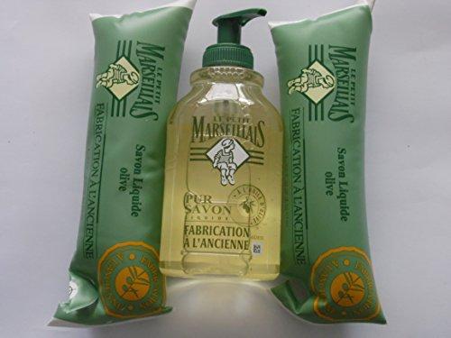 Le Petit Marseillais flüssig Seife pur Savon Olive 300 ml Original aus Frankreich + 2 Nachfüllpacks zu je 250 ml