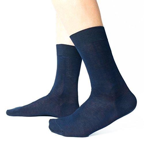 Ciocca Calze uomo corte, pregiato cotone 100% FILO SCOZIA - 6 Paia - tre taglie calze (40/41, Blu...