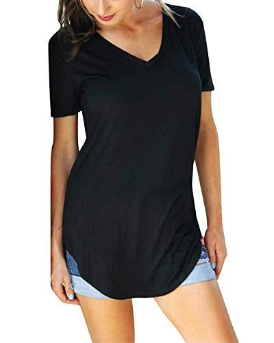 Yidarton Damen Sommer T-Shirt Basic Kurzarm Tops V-Ausschnitt Lockere Oberteile Solide Casual Shirts, Schwarz, XXL