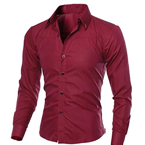 Camisas Informales para Hombre, Primavera, Color sólido, Manga de Hombre, algodón, Ajustado, Informal, con Botones de Negocios, Tops, XL, Rojo Vino