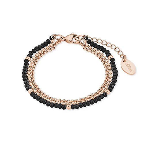 s.Oliver Damen-Armband Edelstahl IP Rose Beschichtung Glassteine schwarz