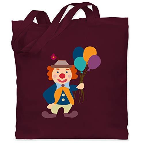 Shirtracer Bunt gemischt Kinder - Clown Luftballons - Unisize - Bordeauxrot - Statement - WM101 - Stoffbeutel aus Baumwolle Jutebeutel lange Henkel