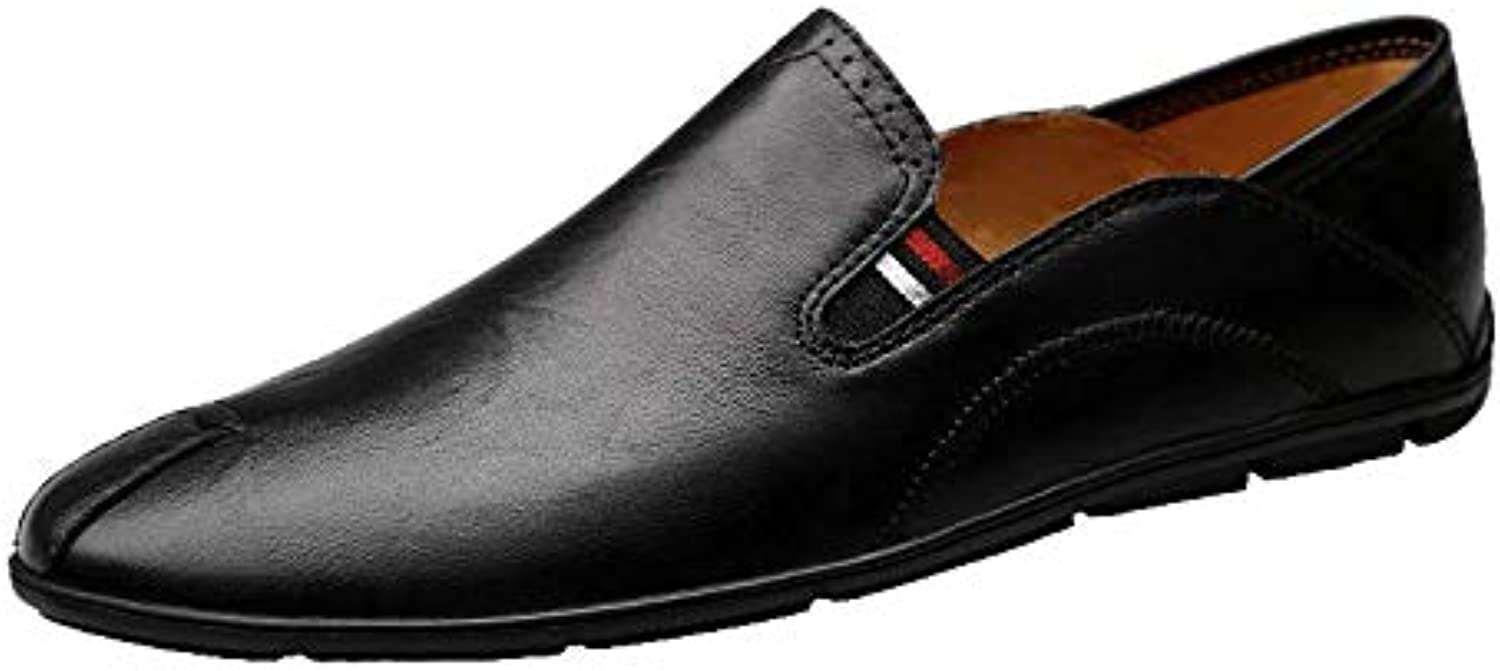 GPF-fei Mens Leather shoes, Spring Fall Formal Business shoes Slip-Ons Driving shoes Wedding Office & Career Party & Evening,Black,41