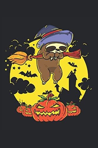 Notizbuch Halloween lustiges Faultier mit Hexenbesen: Hexen Notizbuch mit fliegendem Faultier. Hexen Geschenk Notizbuch und Tagebuch mit 120 punktierten Seiten dotgrid