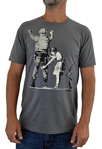 Faces T-Shirt Uomo Banksy Girl Searching Soldier Impresión del Manual de la Pantalla de Agua (XL Hombre)
