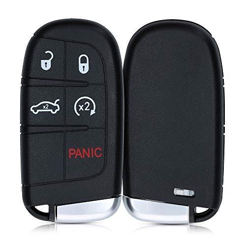 kwmobile Funda Llave Coche Compatible con Jeep Dodge Chrysler Llave de Coche Smart Key de 5 Botones - Repuesto plástico Duro para Mando de Auto - Negro