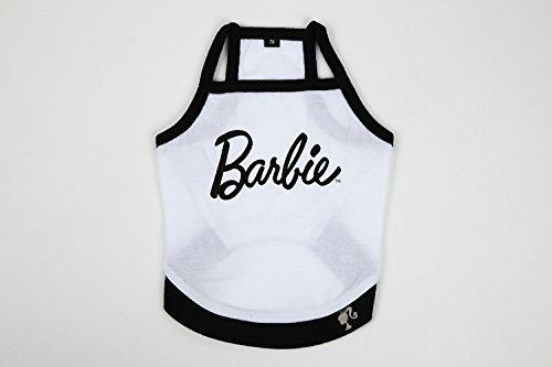 犬 いぬ 服 Barbie バービー ペットウェアー プリントロゴ キャミソール (白 X 黒, S)
