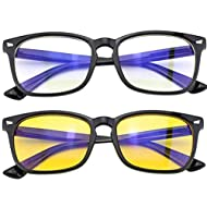 Blue Light Blocking Glasses (2 Pairs). Anti Headache, Fatigue, Eyestrain, Neck Pain & Insomnia. UV Filtering. Helps Memory, Concentration & Reaction Times.