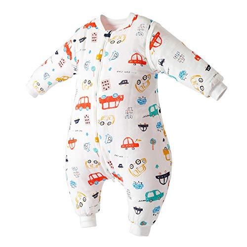 Happy Cherry Baby Schlafstrampler aus Baumwolle mit Abnehmbaren Ärmeln Kleinkind Schlafanzug Gefütterter Schlafsack - Auto Größe 100