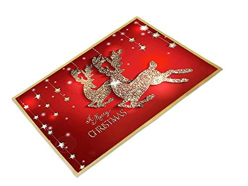 Alfombra de Baño Antideslizante,Felpudo Coco Navidad,Navidad Antideslizante Felpudo,Alfombras de Exterior para el Salón el Baño la Cocina (B)