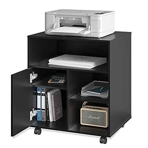 DEVAISE Mobile Printer Stand with Adjustable Shelf, Rolling Wood Storage Cabinet on Wheels, Black