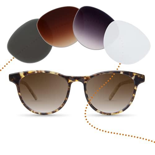 Sym Optic Sonnenbrille mit Sehstärke von -4,00 bis +4,00 mit auswechselbaren Gläsern in 6 Farben für Kurzsichtigkeit und Weitsichtigkeit - Unisex (für Damen & Herren) - Kiez Kollektion Modell Nikolai