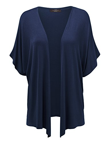 MBJ Womens Short Sleeve Dolman Cardigan XXL Navy