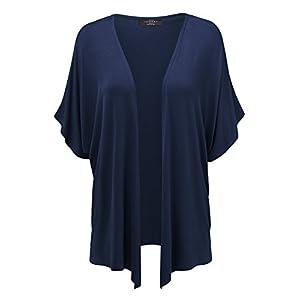 Made By Johnny Women's Kimono Style Short Sleeve Dolman Cardigan