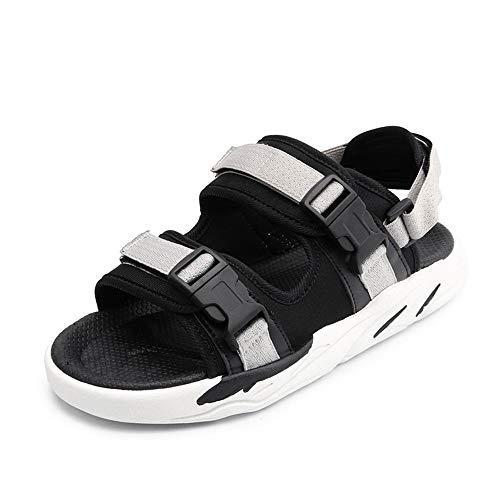 Sandalias de cuero Sandalias casuales para hombres, zapatillas de punta abierta, zapatos de playa transpirables de hebilla, paño de cinturón de gancho y bucle, ligero y resistente al desgaste Sandalia