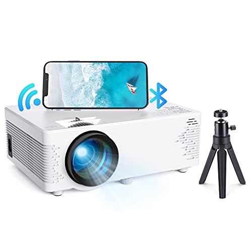 Mini Beamer Bluetooth, WiFi Projektor Tragbarer Projektor mit Stativ, 1080P Unterstützte Outdoor Film Projektor mit HiFi Sound, Home Video Projektor Kompatibel mit TV Stick/Handys/PS4/TV Box/HDMI