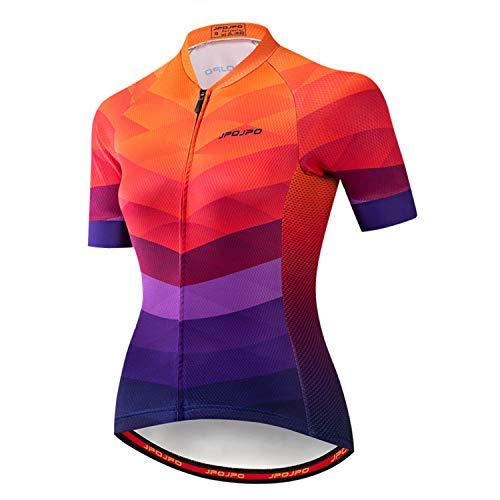 Weimostar - Maglia da ciclismo da donna, a maniche corte, estiva, per bicicletta, riflettente JP10
