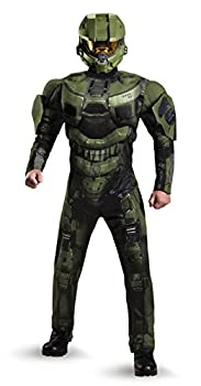 Disguise Men s Halo Deluxe Muscle Master Chief Adult Costume Green X-Large