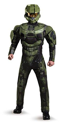 Disguise Herren Halo Deluxe Muscle Master Chief Erwachsenenkostüm - Grün - X-Large