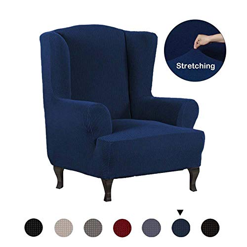 All-inclusive schuine arm King Back Chair Cover Elastische fauteuil Wingback Chair Wing Back Chair Cover Stretch beschermhoes-Marine