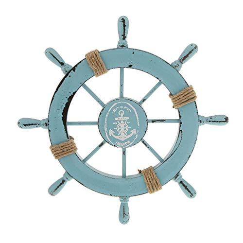 YARNOW Volante de Barco de Madera Náutica Decoración de Pared de Rueda de Barco de Madera para El Hogar Tienda Adorno Colgante de Puerta ( Azul Claro )