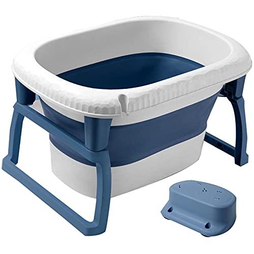 catch-L Bañera Portátil Bañera para Niños Pequeños Bañera Plegable para Niños Recién Nacidos Barril De Baño para El Hogar Grande Puede Nadar, Sentarse Y Acostarse(Size:72X46cm,Color:Azul)