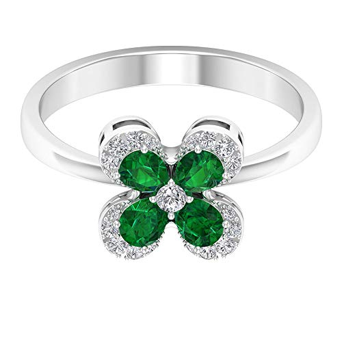 Cocktail Engagement Ring, 3/4 Ct 4X3mm Emerald Flower Ring, HI-SI Diamond Cluster Ring, Unique Wedding Ring, Pear May Birthstone Ring, Bridal Jewelry, 14K White Gold, Size:UK W1/2