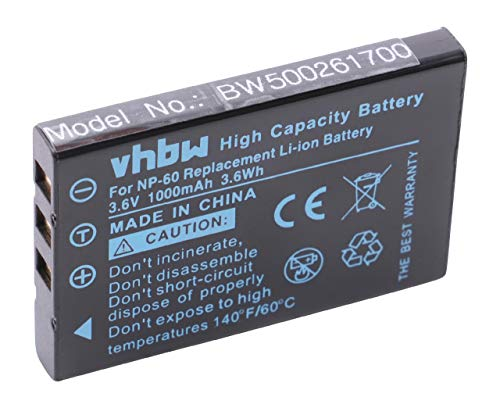 vhbw Batterie Compatible avec Acer CR-5130, CR-6530 Appareil Photo DSLR (1000mAh, 3,6V, Li-ION)