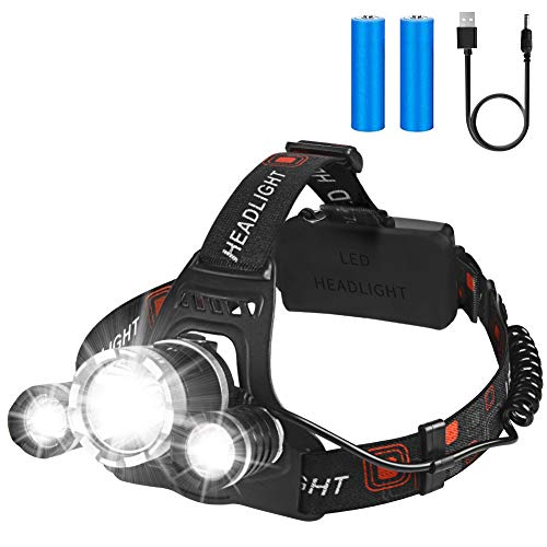 Rechargeable Headlamp, LED Flashlight, 12000 Lumen Bright CREE LED, Waterproof Head Lamp, Adjustable for Kids and Adults, Hardhats Light for Camping Cycling Running Fishing