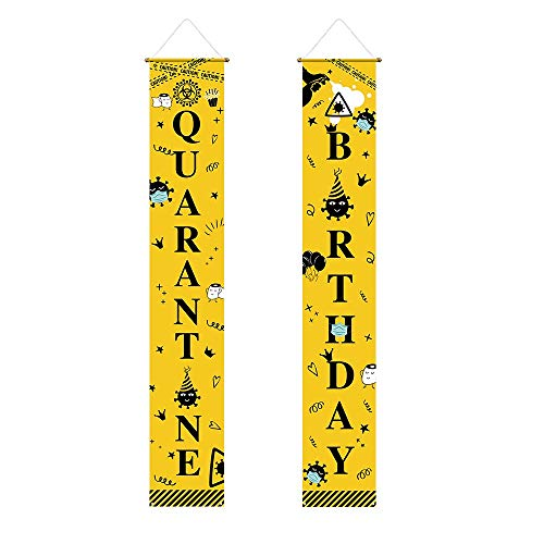 Funnytree Happy Quarantine Birthday Themed Porch Sign Yellow and Black Yard Banner Polyester Home House Garden Door Wall Hanging Decorations Windproof Backdrop Party Supplies 2pcs