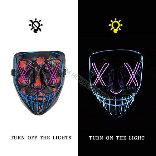 WGvnyqydlinyiming1342ndh009 LED-Maske Halloween-Party-Maske Maskerade-Masken Neon-Maske Helle im...