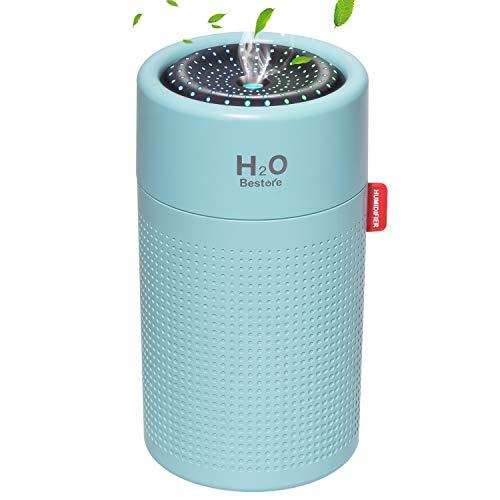 【令和革新モデル】 加湿器 卓上 usb充電式 2000mAh大容量 アロマディフューザー コードレス 超静音 アロマ 除菌 ペットボトル 超音波式 加湿器 ミニ オフィス/部屋/車載 空焚き防止 水漏れ防止 LEDライト搭載 乾燥/花粉症対策 750ml (ブルー)