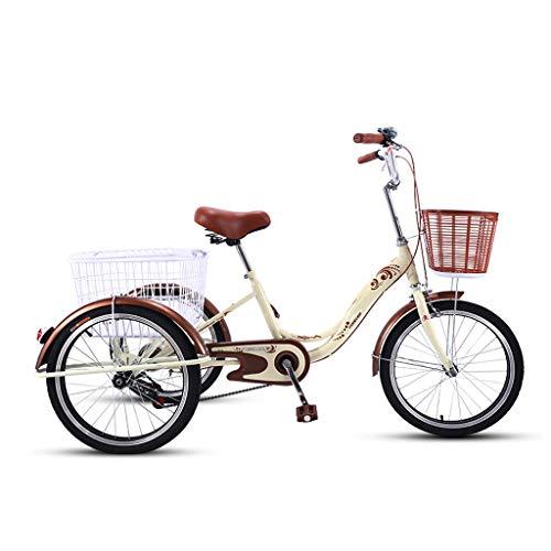 Dreirad Tricycle Adult Seniors16 Inch Trike, Mit Dreiräder Großem Einkaufswagen Männer Und Frauen Bike Fahrräder Trikes 3 RadFahrrad, Lastenfahrrad,High Carbon Stahlrahmen, Hinterradbremse