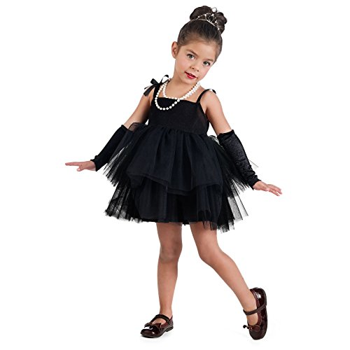 Elbenwald Disfraz de Bailarina de Estrella de Cine de Hollywood para nias con Mitones Color Negro - 2 Jahre