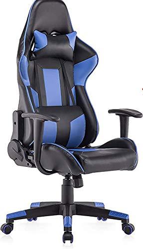 YIQIFEI Ledersessel kleinen Gaming Chair Ergonomischer Computerstuhl mit hoher Rückenlehne, Racing Chair mit Einstellbarer Höhe und Lordosenstütze für Jugendliche (blau)