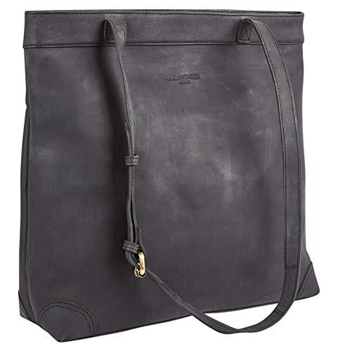 HOLZRICHTER Berlin Shopper No 1-1 (M) schwarz-anthrazit - Damen Handtasche & Umhängetasche mit Henkel handgefertigt aus Premium-Leder