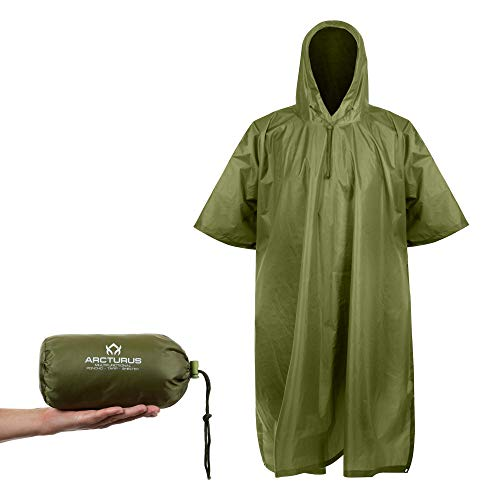 Arcturus Lightweight Ripstop Nylon Poncho with Adjustable Hood (Olive)
