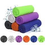 YOOFOSS Kühlendes Handtuch 6er Pack Kühltuch Mikrofaser Sporthandtuch Kühl Tuch 100x30cm Sofort Cooling Towel für Fitness Sport Strand Yoga Reisen