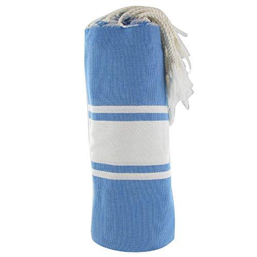 LES POULETTES Baumwolle Handtuch Fouta Hammam oder Strand Fest Blau Farbe Weiß Streifen
